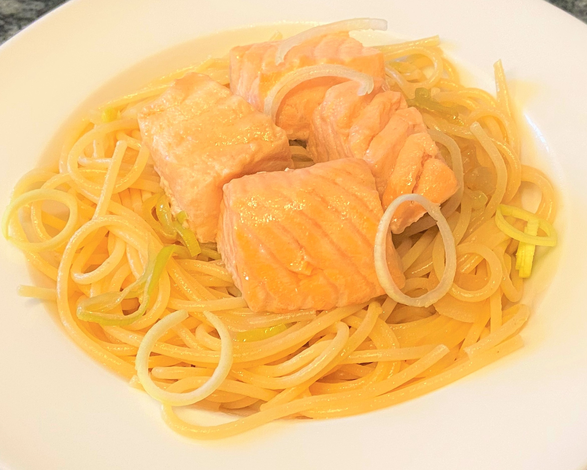 Salmon Spaghetti citrus lemon taste with an Asian twist